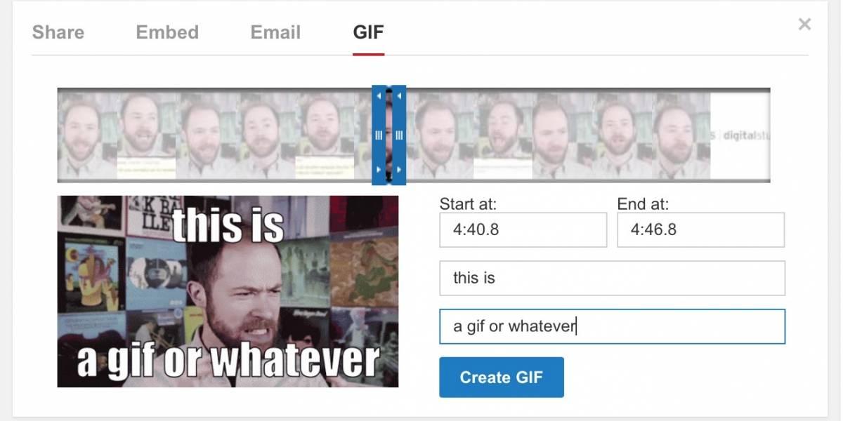 YouTube está experimentando con herramienta para generar GIF