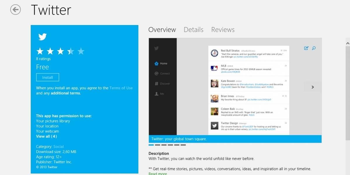Twitter lanza cliente oficial para Windows 8