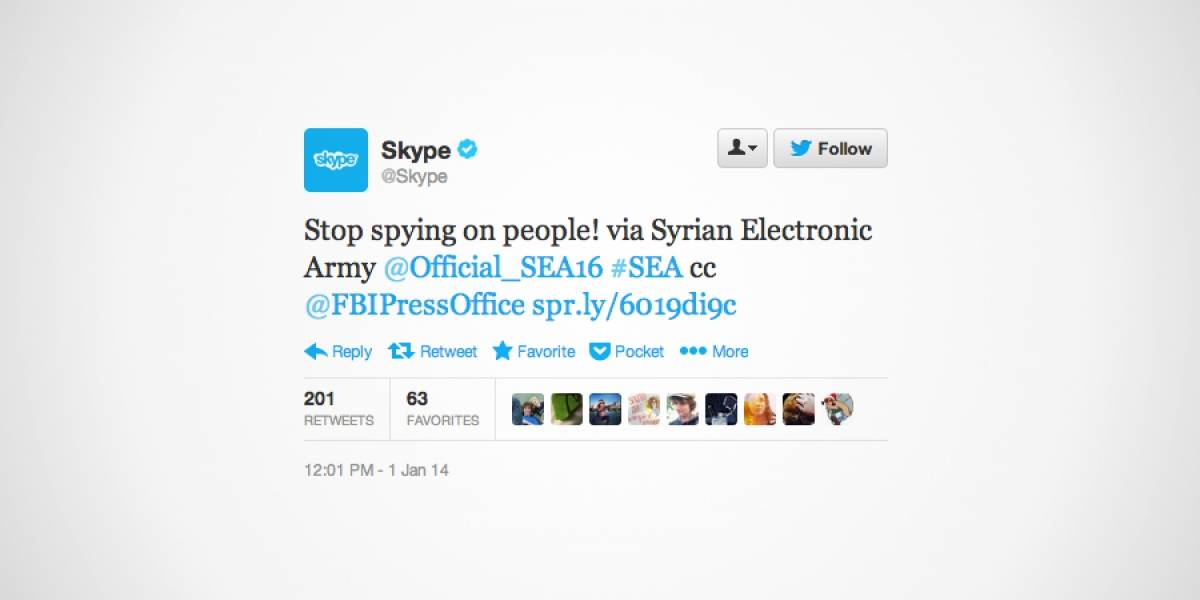 Ejército Electrónico Sirio alega contra la NSA a través de las cuentas de Skype en redes sociales