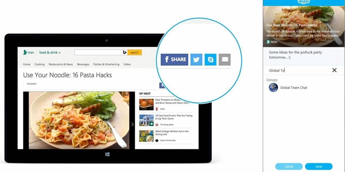 """Skype presenta su botón de """"compartir"""" para la web"""