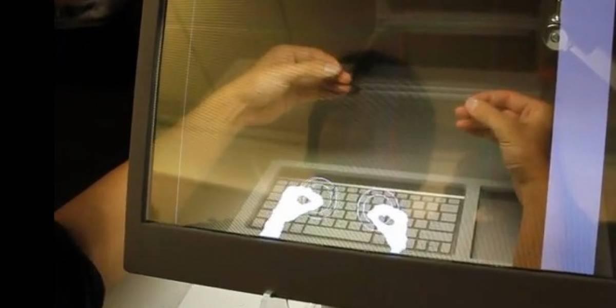 SpaceTop 3D te permite estirar la mano para alcanzar objetos dentro del computador