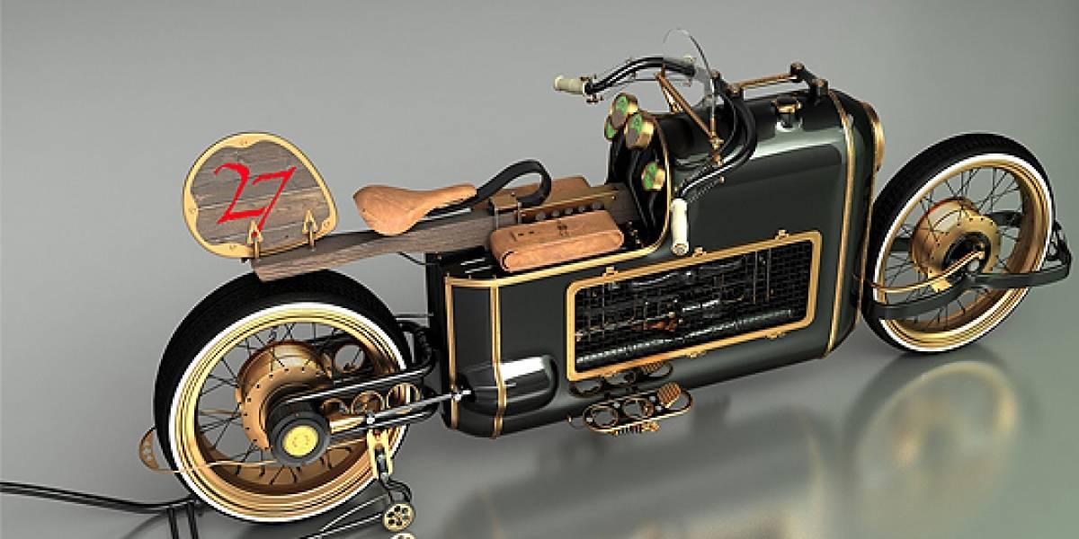 Impresionante diseño de una motocicleta steampunk