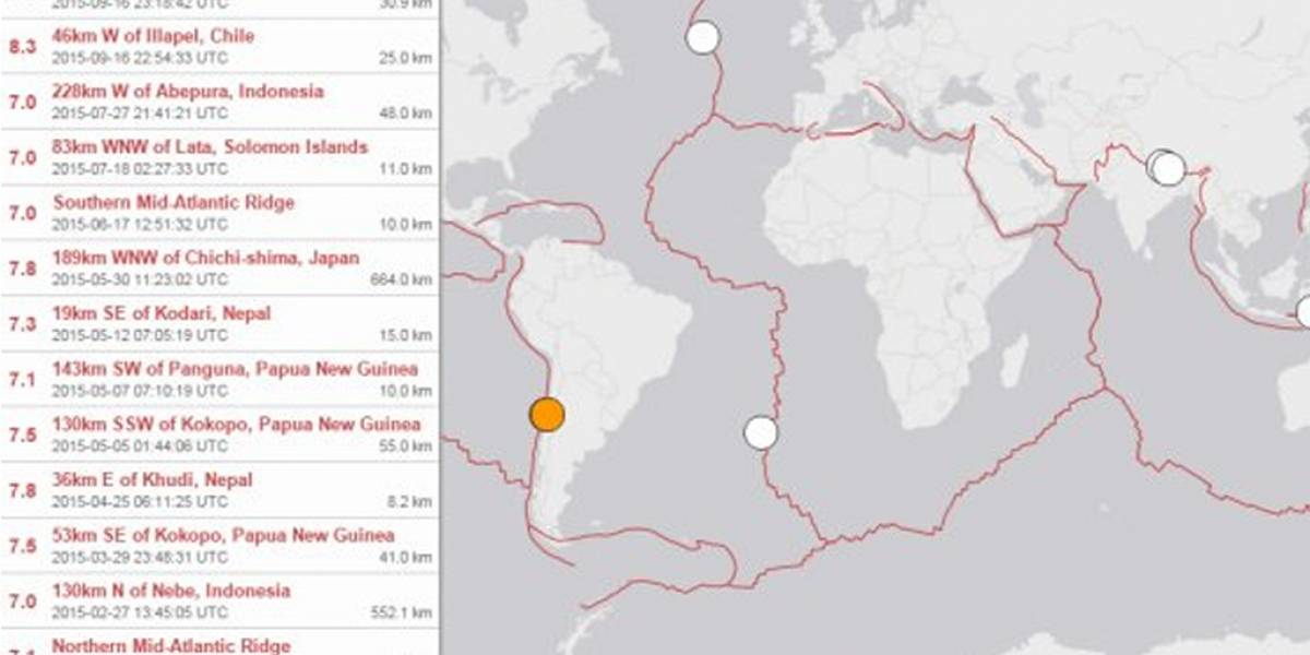 Servicio Geológico de Estados Unidos cifró terremoto en Chile como el mayor de 2015
