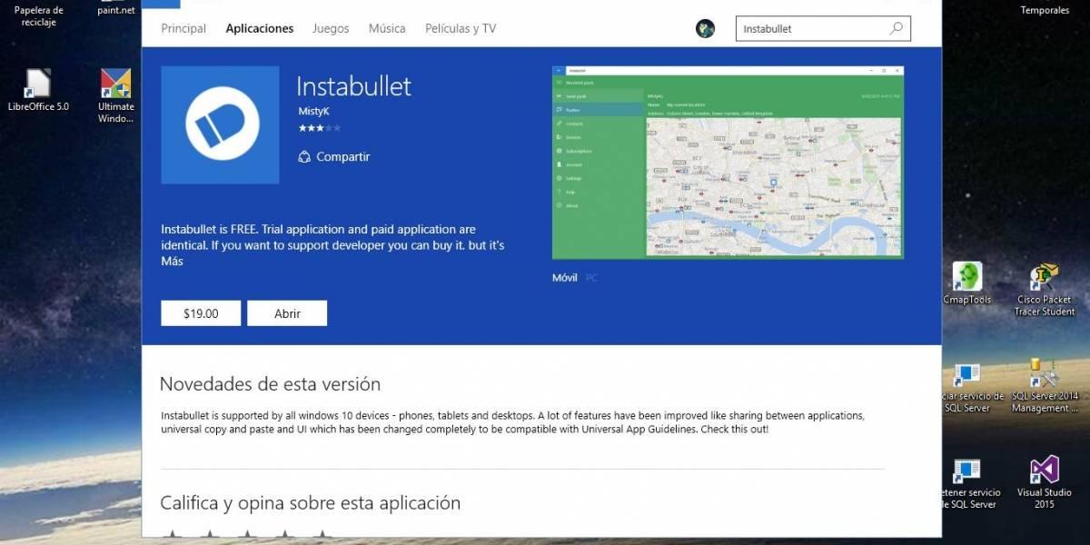Instabullet, el cliente de Pushbullet para Windows 10