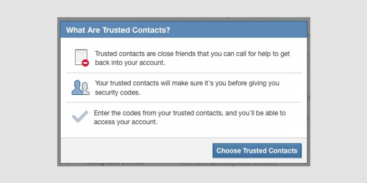 "Facebook lanza ""Contactos Confiables"" para que te ayuden a volver a acceder a tu cuenta"