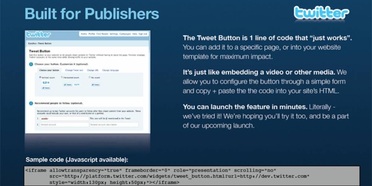 Twitter lanzará botón para compartir enlaces