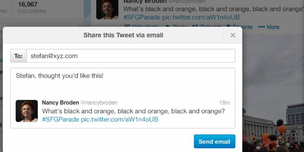 Twitter implementará opción para compartir tuits vía correo electrónico