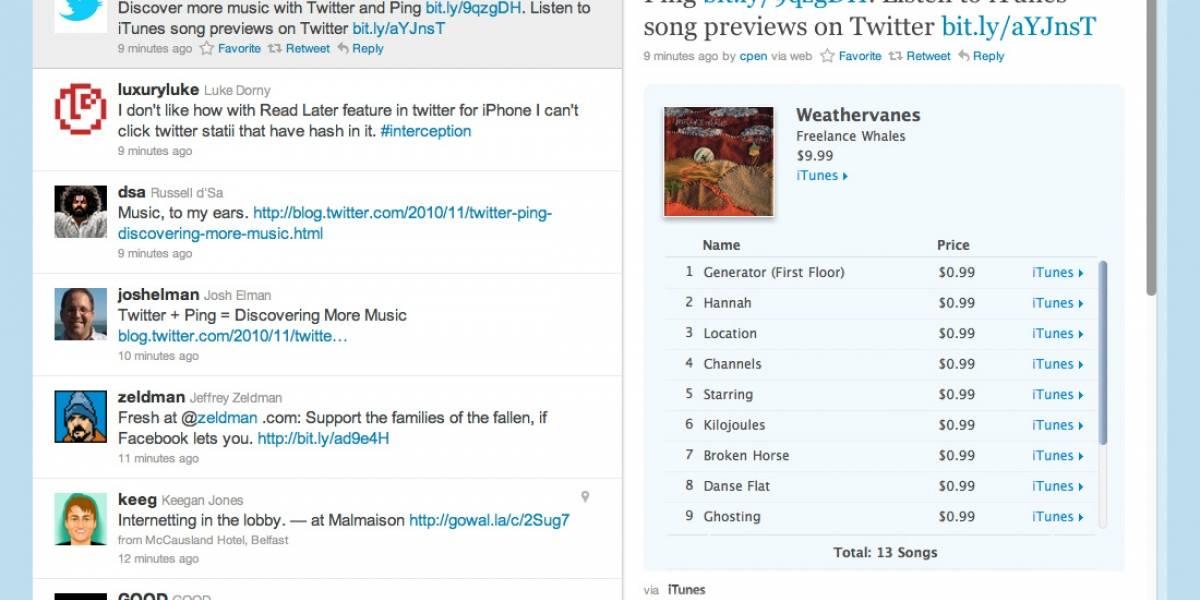 Twitter llega a acuerdo con Ping para tuiteos de canciones