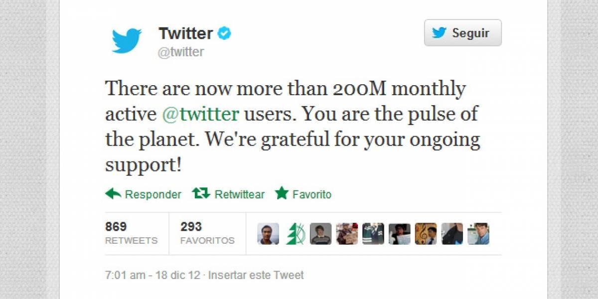 Twitter tiene 200 millones de usuarios activos