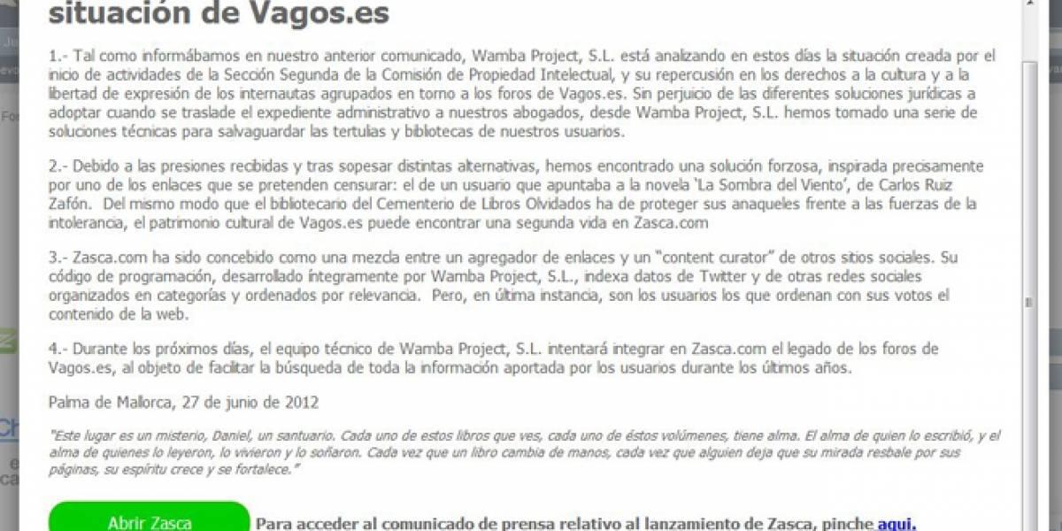 Vagos.es cierra de manera definitiva y traslada sus contenidos a Zasca.com