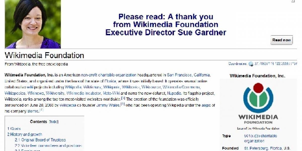 Wikipedia recaudó récord de US$20 millones para financiar este 2012