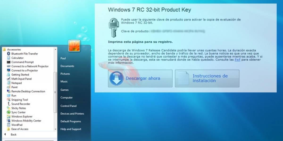 Windows 7 RC ya disponible para todos