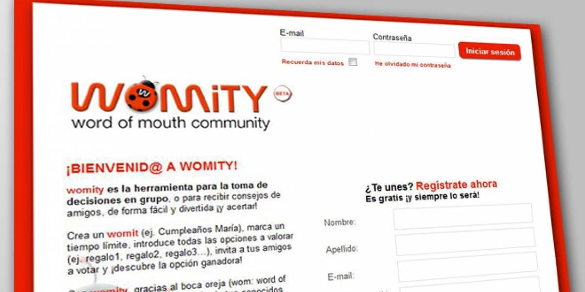 Womity: Una red para recibir consejos y tomar decisiones en grupo