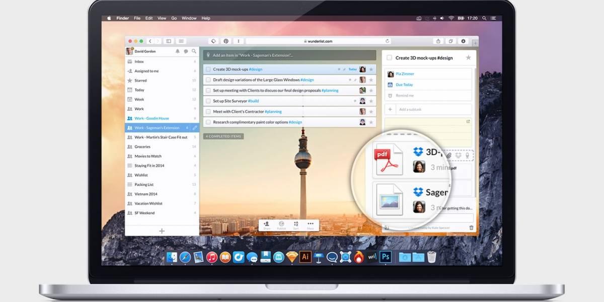 Wunderlist ya permite adjuntar archivos de Dropbox