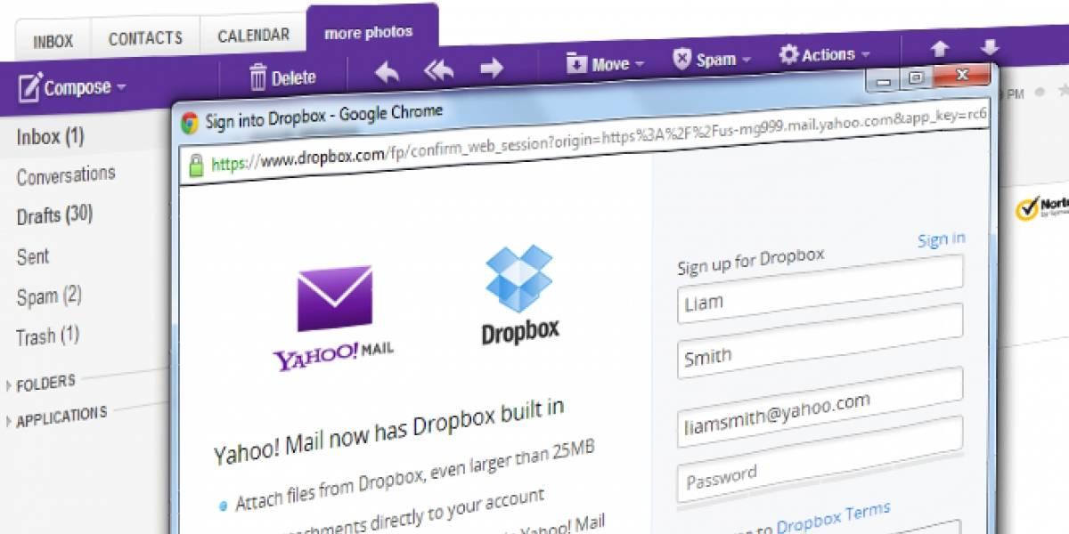 Yahoo integra Dropbox a su servicio de correo