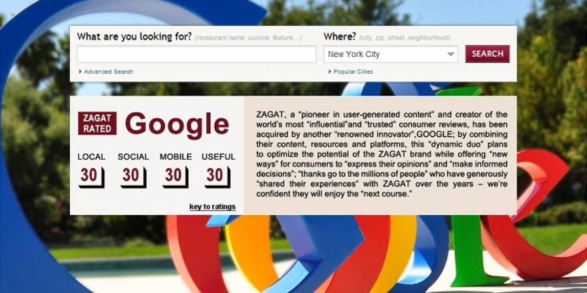 Google le puso 30 puntos a Zagat y lo sumó a su imperio