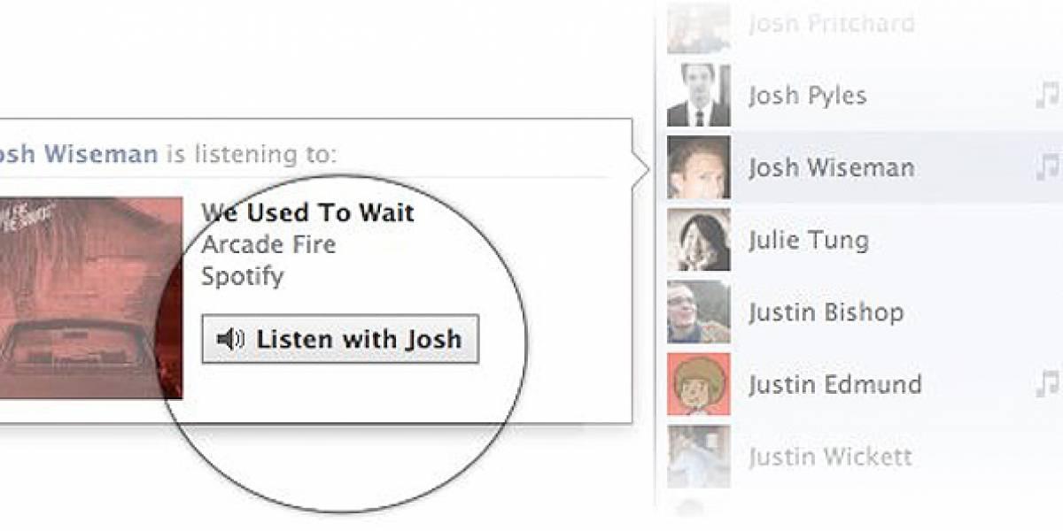 Ahora Facebook permite escuchar música con tus amigos vía chat