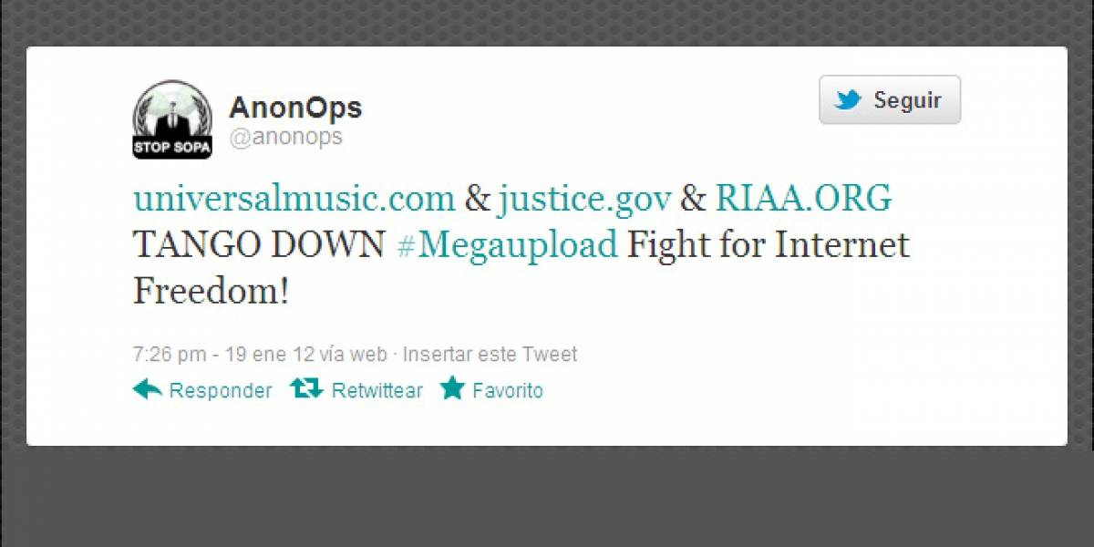 Anonymous derriba sitios del DoJ y Universal en protesta por MegaUpload