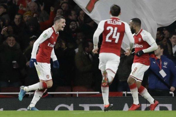 Xhaka celebrando el gol que le dio el triunfo a Arsenal ante Chelsea / Foto: AP