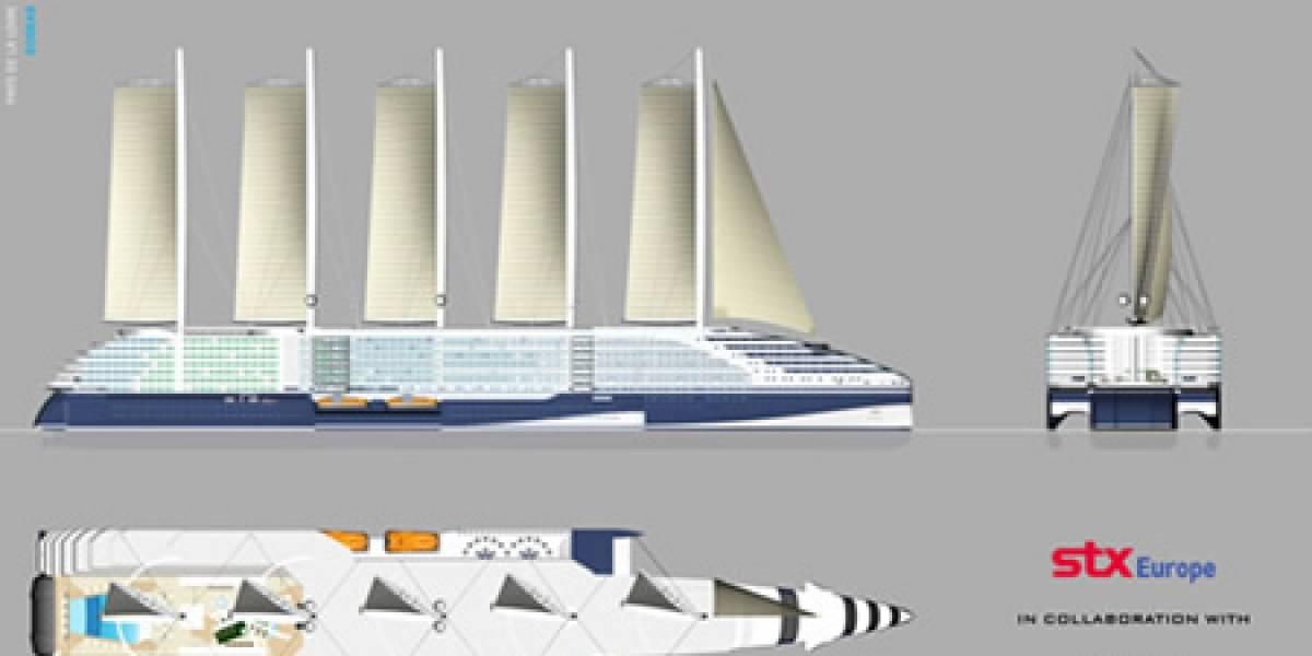 Concepto: crucero impulsado con energía eólica