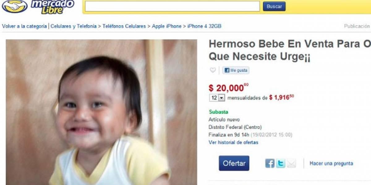 México: Sujeto intentó subastar un bebé en MercadoLibre