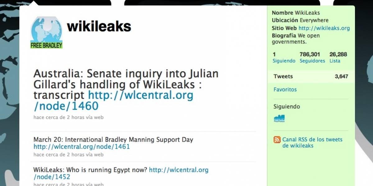 Gobierno de EE.UU. obtiene acceso a cuentas de Twitter de partidarios de Wikileaks