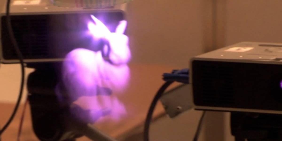Científicos crean un display de niebla para proyectar un conejo