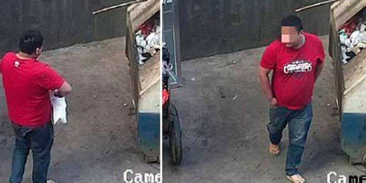 Enfermo: un horrible padre botó a su bebé a la basura pero las cámaras lo captaron todo