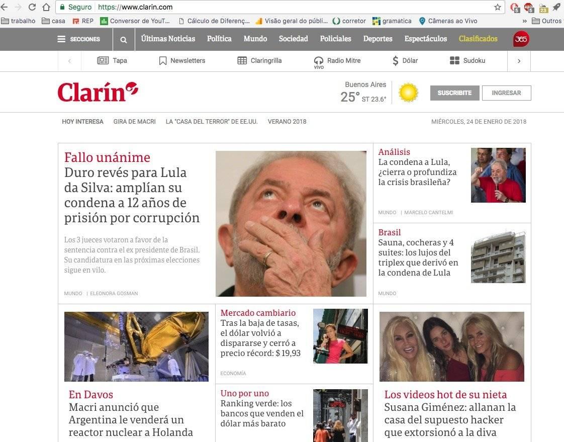 """o """"Clarín"""" destaca que o petista é apontado como favorito na corrida presidencial"""