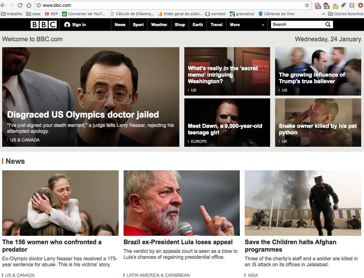"""o site da """"BBC"""" destaca a condenação de Lula em sua página principal"""