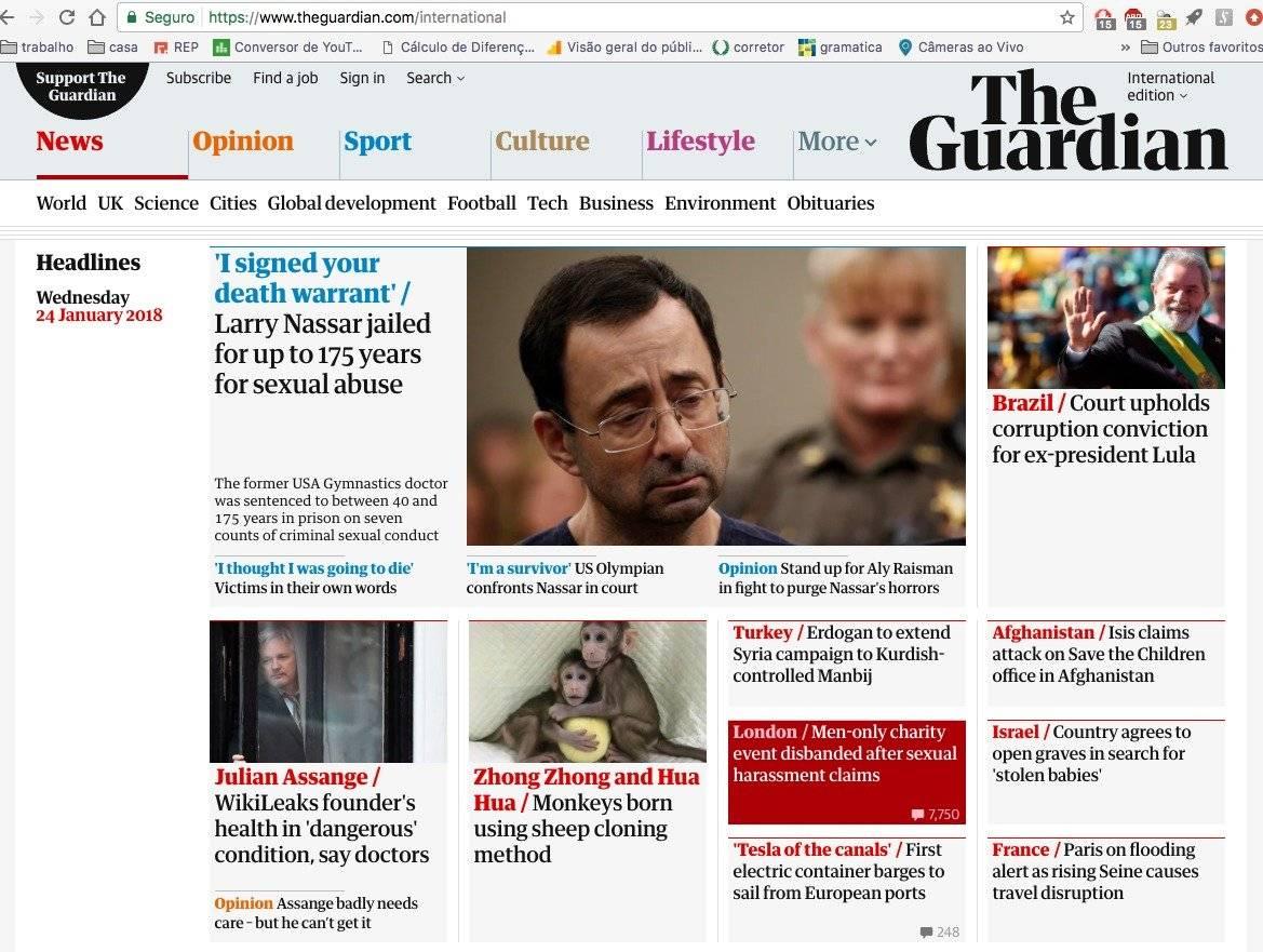 """O britânico """"The Guardian"""" traz o assunto na capa, com a notícia sendo a 9ª mais lida do portal"""
