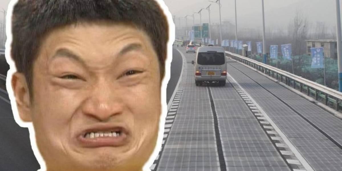 Alguien robó un fragmento de la carretera solar china