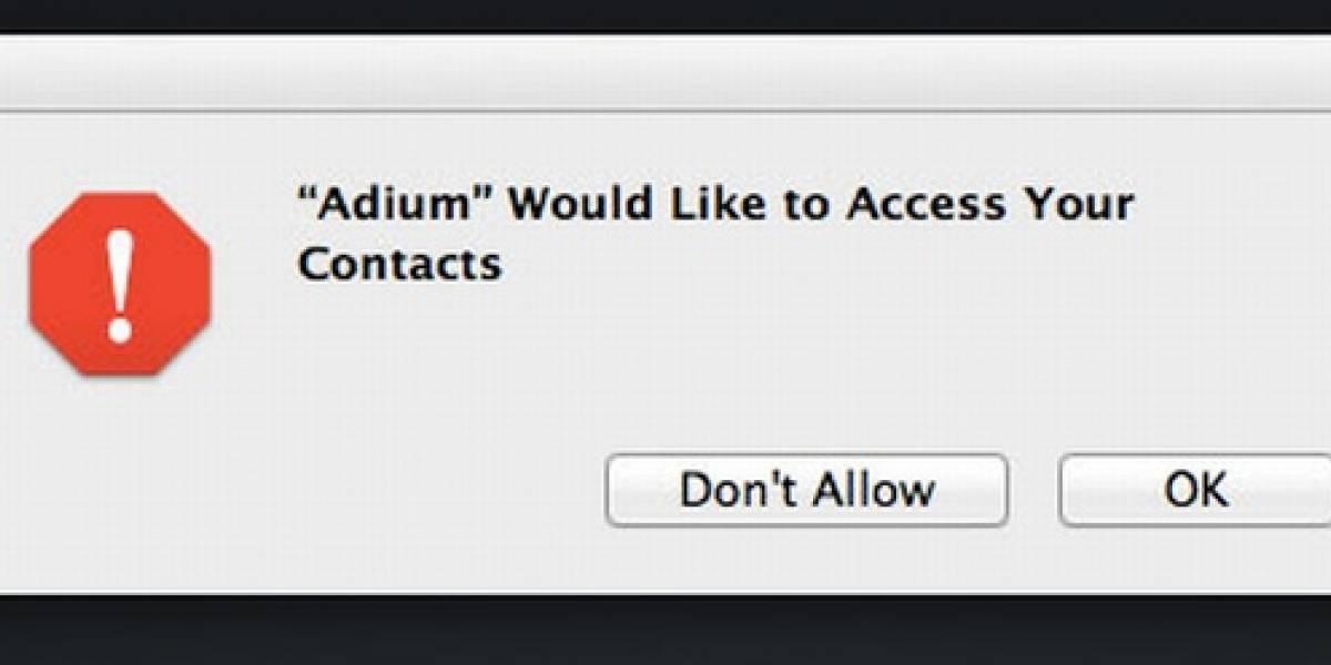 OS X Mountain Lion ahora protege acceso de las aplicaciones a la lista de contactos