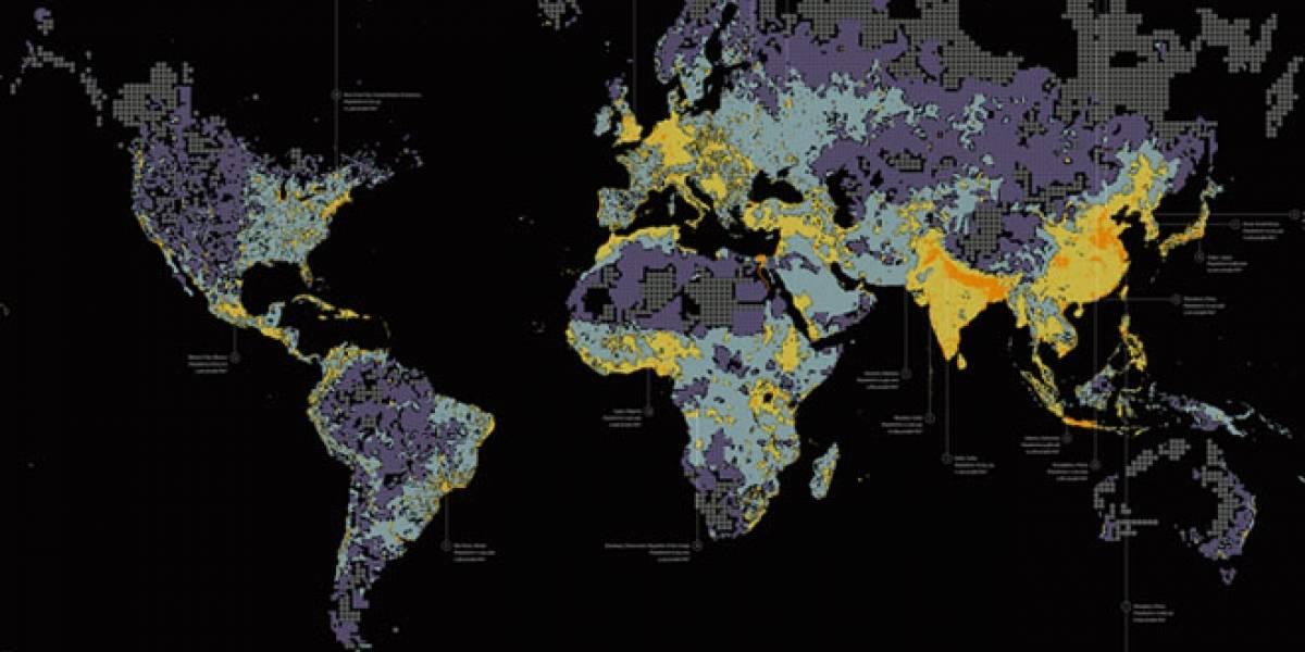 Así se ven 7 mil millones de personas distribuidas en el mundo