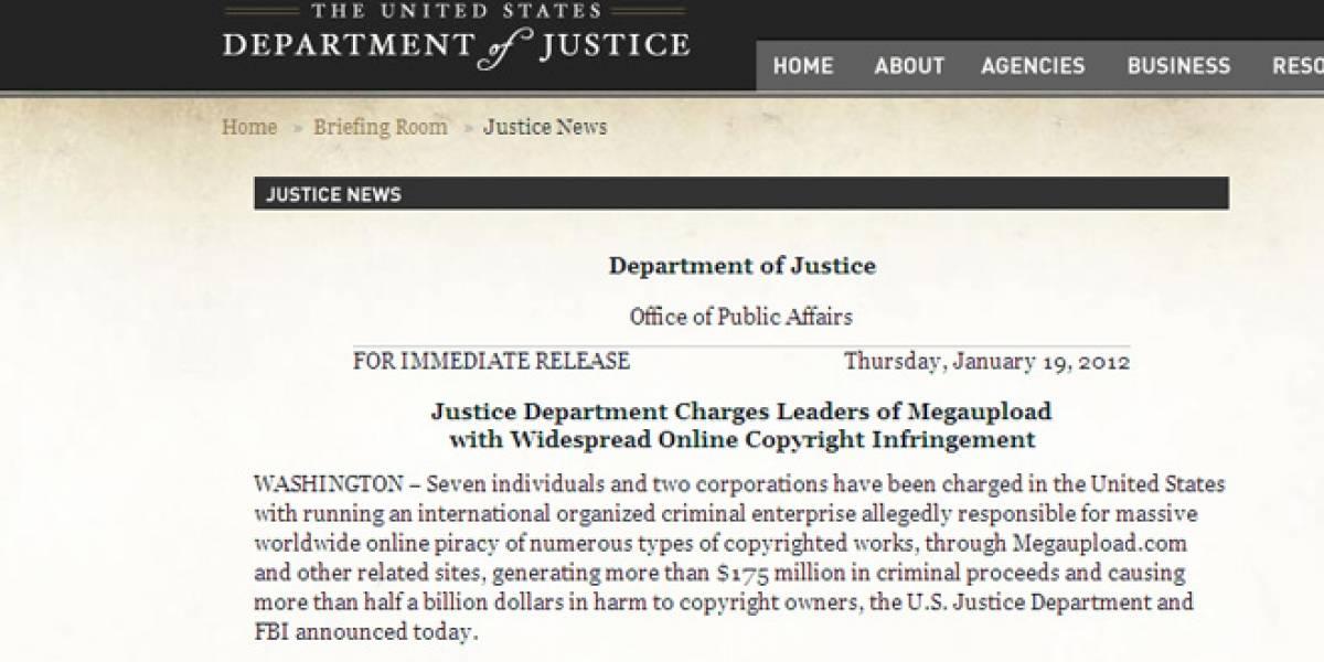 Conoce la declaración completa del Departamento de Justicia contra MegaUpload