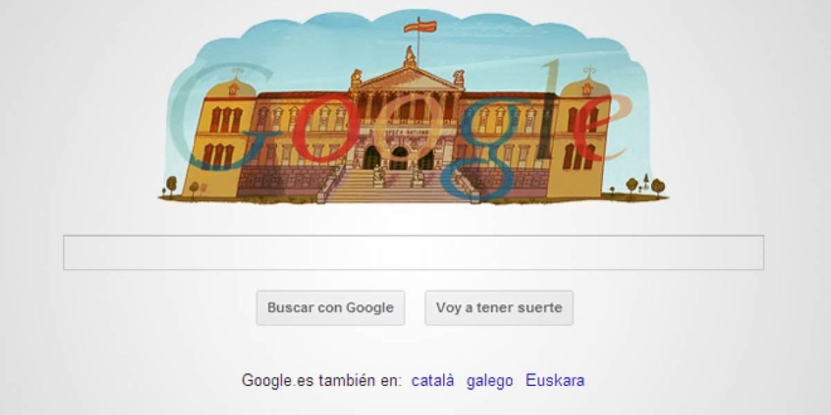 Google España dedica su doodle a los tres siglos de la Biblioteca Nacional