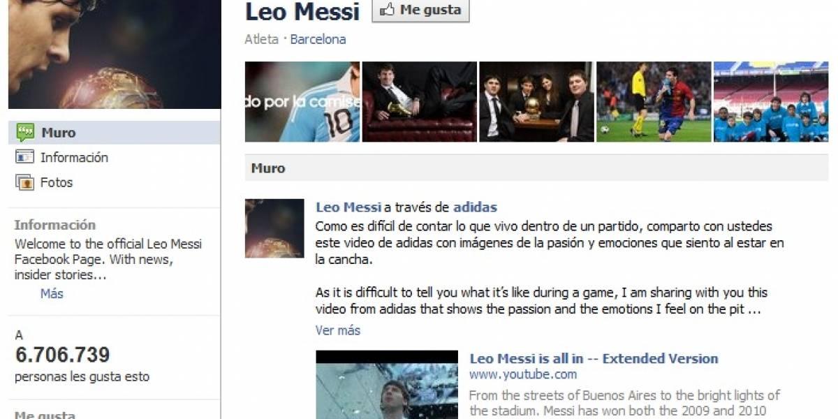 En menos de diez horas Lionel Messi consiguió más de seis millones de fans en Facebook