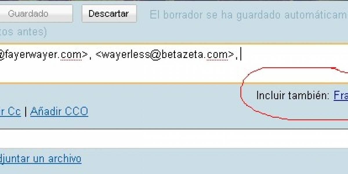 Gmail te sugiere destinatarios para el envío de correos