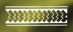 Hikuaua.Representando o rabo do peixe cavala, o Hikuaua é o padrão símbolo da região neozelandesa de Taranaki e representa a prosperidade