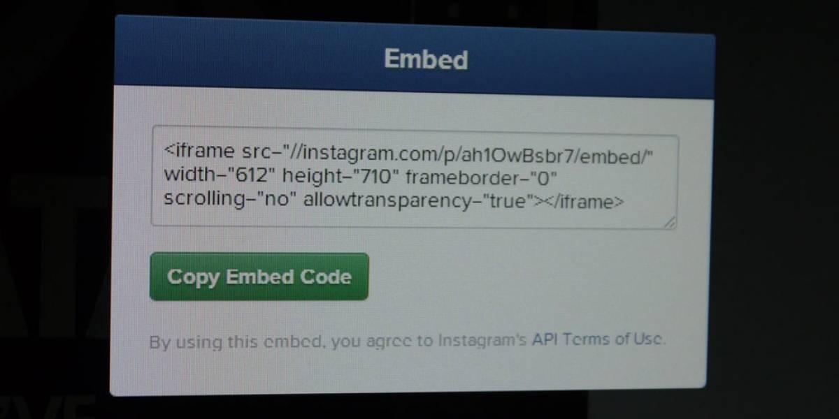 Instagram habilita la función de insertar fotos y videos en las páginas web