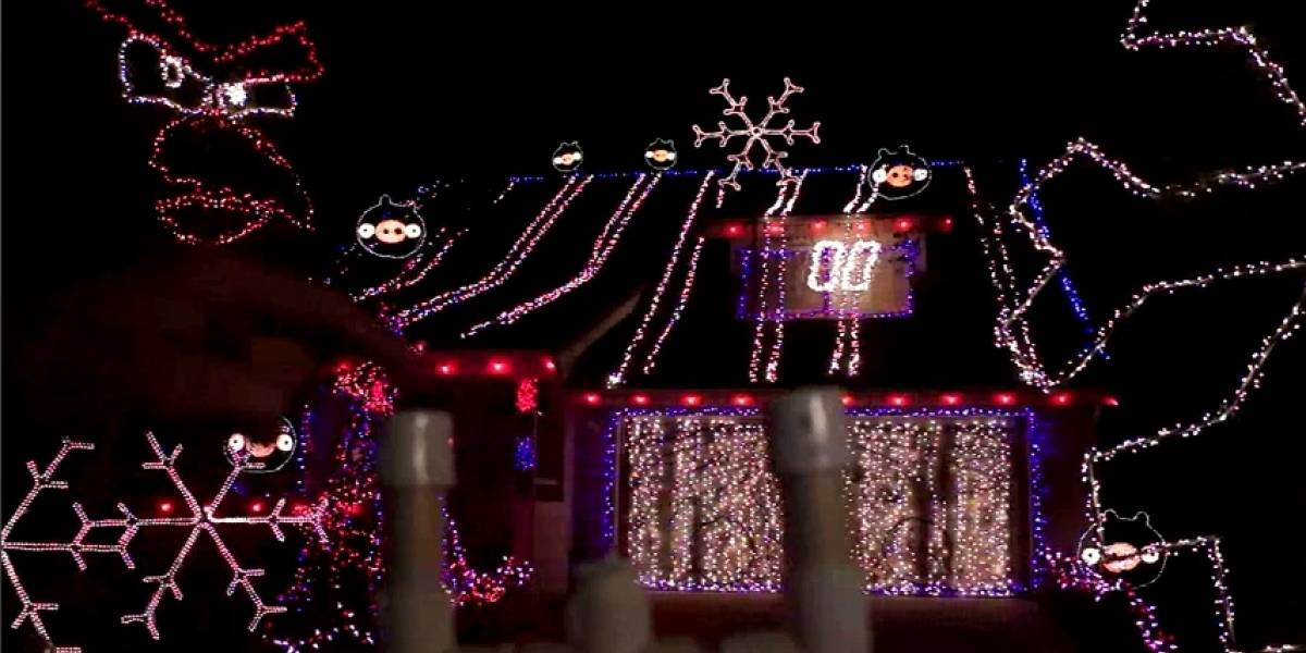20.000 luces navideñas para jugar Angry Birds sobre toda la casa (video)