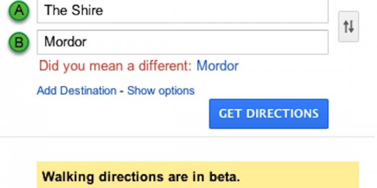Google Maps te indica cómo llegar a Mordor