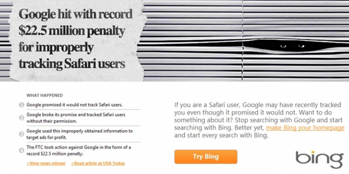 Microsoft recuerda a los internautas que Google estuvo involucrado en un caso de espionaje