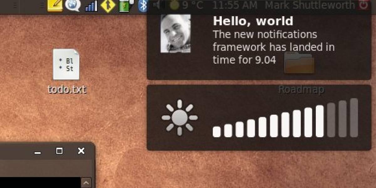 Nuevas notificaciones en Ubuntu 9.04