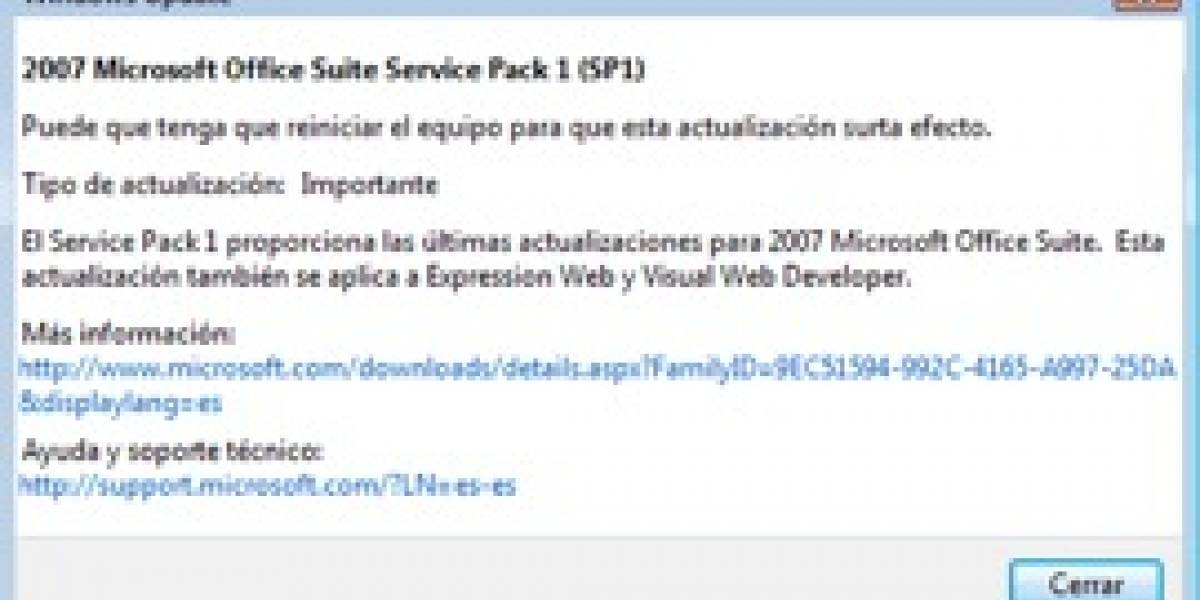 Service Pack 1 de Office 2007 ya está disponible