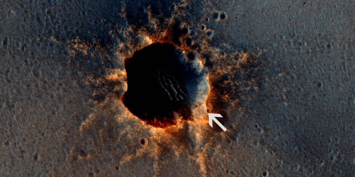 Imperdible: Imagen del rover Opportunity al borde de un cráter marciano