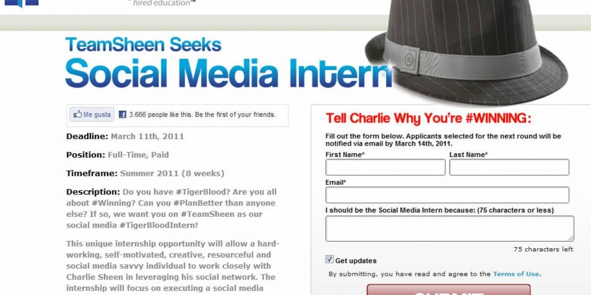 Afilen sus CV: Charlie Sheen busca practicante para asistente en redes sociales