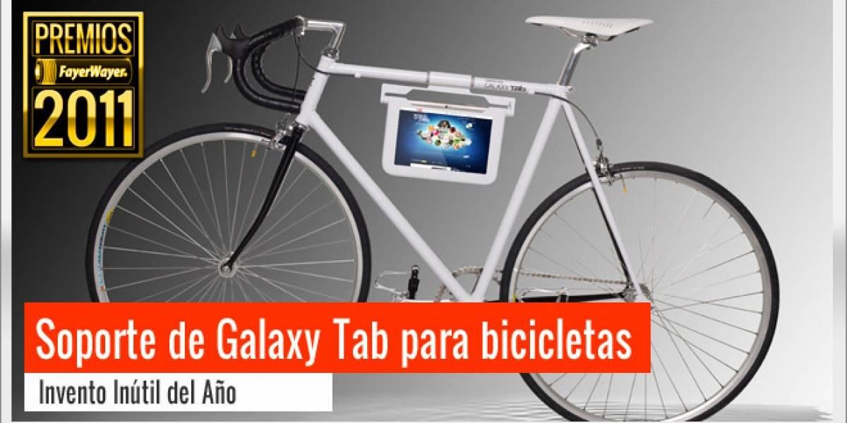 Pila de Oro a Invento Inútil 2011: Soporte Galaxy Tab para bicicletas