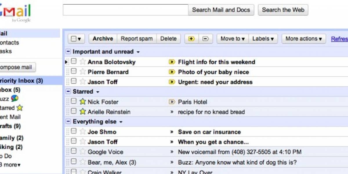 """Gmail lanza """"inbox prioritario"""" para separar correos importantes"""