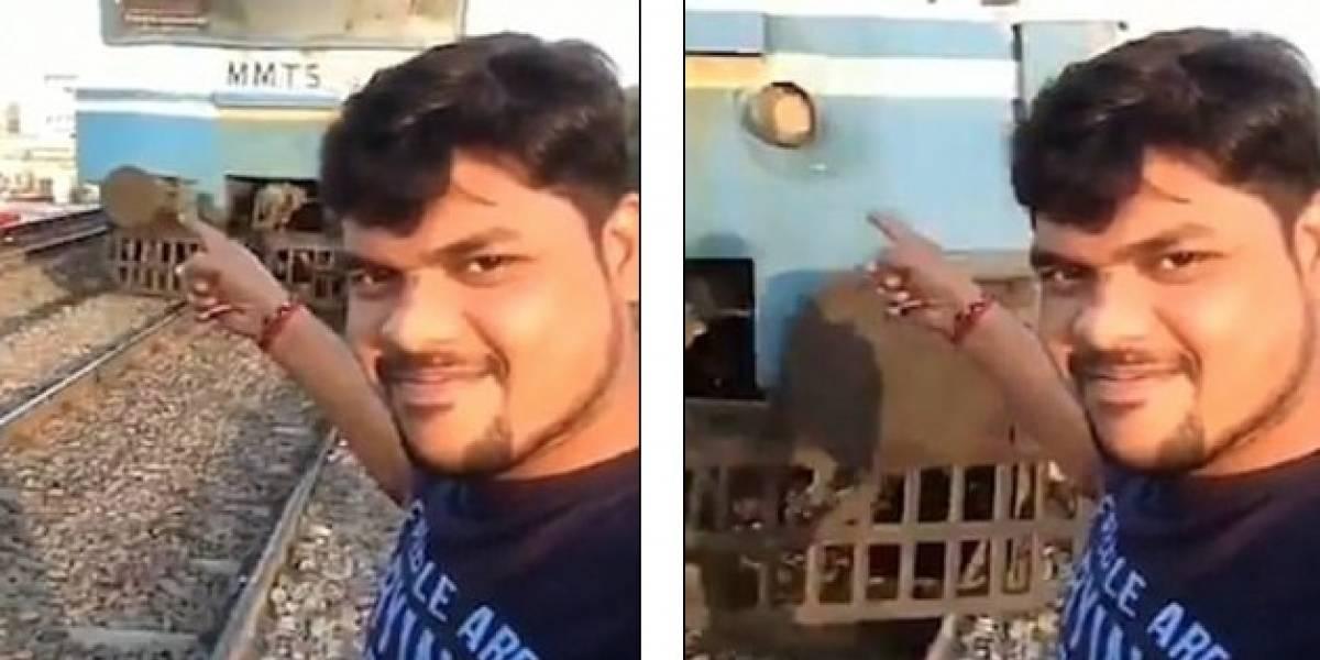 Joven intenta tomarse una selfie y es arrollado por tren